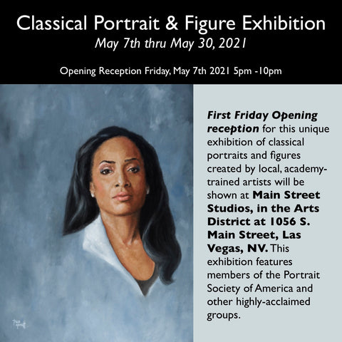Classical Portrait & Figure Exhibition Las Vegas Nevada, May 1 thru May 31st 2021 at Main Street Studios, in the Arts District 1056 S Main Street Las Vegas Oil Painting Portrait of Taylor by artist Trae Mundt. Beautiful Black woman with long straight black hair wearing white dress shirt with collar. Blue Gray background.
