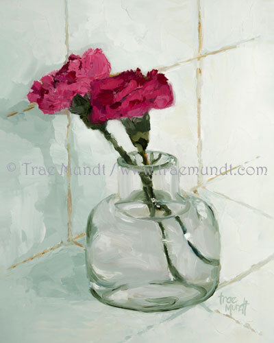 Duet by artist Trae Mundt. Oil painting of two red pink carnations in miniature glass vase with white pale green tile background.