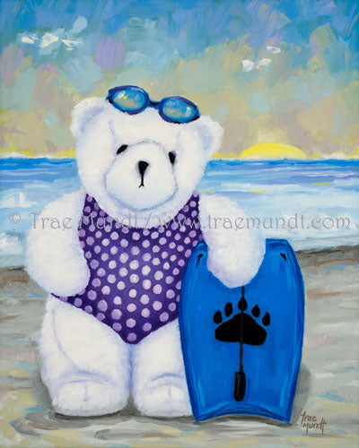 Elsie - teddy bear oil painting by artist Trae Mundt. White teddy bear at the beach wearing purple polka dot swimsuit standing with her boogie board with waves behind her wearing goggles.
