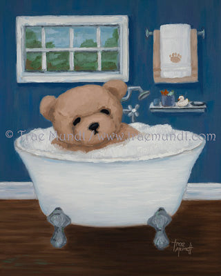 Franky - oil painting by Trae Mundt. Bearie Blvd. Bears®. Brown teddy bear taking bath in clawfoot tub with bubbles in blue bathroom with hardwood floor.