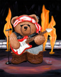 Martin by Trae Mundt. Brown Teddy Bear Rockstar wearing black leather vest, brown suede boots, playing electric guitar, performing on stage with flames in the background.