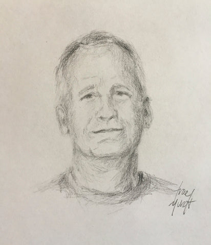 Pencil portrait of Mike who lives in Texas. Pencil drawing. Lines