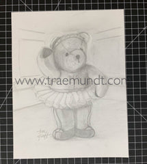 Teddy Bear Ballerina Pencil Drawing by Trae Mundt