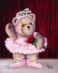 Sveta, Teddy Bear Art Print by Trae Mundt. Bearie Blvd. Bears™ collection. Brown teddy bear wearing pink tutu, leotard and toe shoes holding a bouquet of red roses standing on stage.