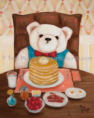 Wilbur, Bearie Blvd. Bears ® oil painting by artist Trae Mundt. White teddy bear wearing turquoise vest and red bow tie, his Sunday best, dining at cozy pancake house getting ready to eat a big stack of pancakes topped with butter with a side of bacon and a glass of milk.