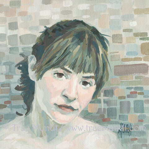 With or Without You Gouache Portrait Painting of Beautiful brunette with hair in a ponytail with multi colored tile background muted colors: grays, toaupe, brick, sage green