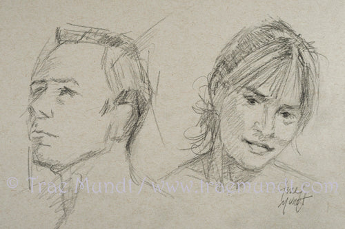 Portrait Pencil Drawing sketch of Beautiful brunette with hair in a ponytail and man gazing sideways on gray paper
