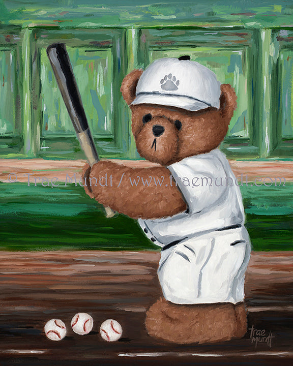 Bentley, Teddy Bear Art Print by Trae Mundt. Bearie Blvd. Bears™ collection. Brown teddy bear wearing white baseball uniform and white hat standing at home plate holding baseball bat with three baseballs near his feet.