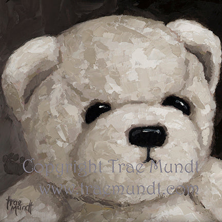 Bernard by artist Trae Mundt. Bearie Blvd Bears ® oil painting. Portrait of pale brown and white teddy bear.