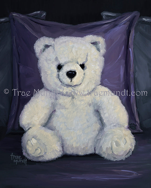 Bruno, teddy bear art print by Trae Mundt. Bearie Blvd. Bears ™ collection. Big white teddy bear sitting on purple and gray satin comforter.