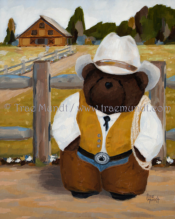 Buck, Teddy Bear Art Print by Trae Mundt. Bearie Blvd. Bears™ collection. Brown teddy bear wearing cowboy chaps and suede vest and haas cowboy hat standing in front of his ranch.