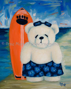 Buddy, Teddy Bear Art Print by Trae Mundt. Bearie Blvd. Bears™ collection. White teddy bear at the beach wearing blue flowered hawaiian swim trunk and sunglasses standing near his orange surf board near ocean's edge.