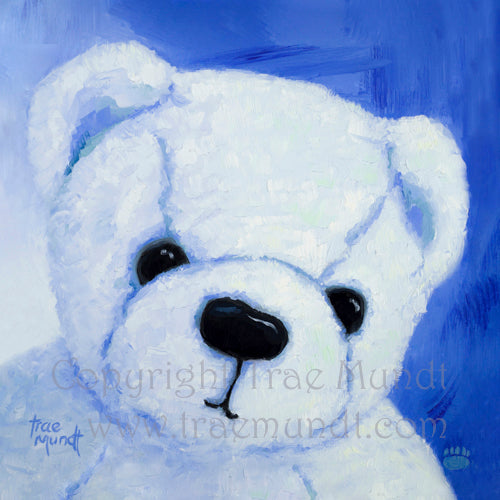 Buster by artist Trae Mundt. Bearie Blvd Bears® oil painting portrait of white teddy bear with blue background