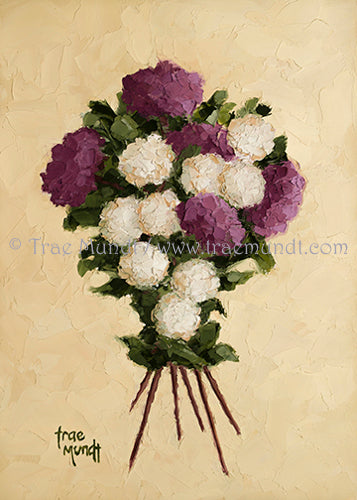 Crisscross Oil Painting by artist Trae Mundt. Bouquet of purple magenta white beige button flowers with crisscrossed stems background textured beige color.