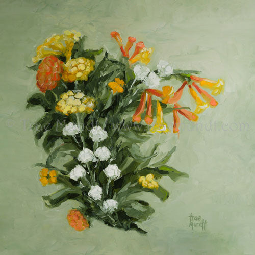 Desert Summer oil painting by artist Trae Mundt. Desert bouquet of flowers yellow, orange and white with textured sage green background.  orange jubilee orange bells
