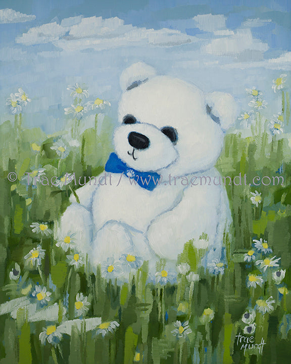 Dexter, Teddy Bear Art Print by Trae Mundt. Bearie Blvd. Bears™ collection. White teddy bear wearing blue bow tie sitting in a field of daisies with blue skies and white clouds above.