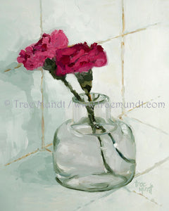 Duet painting by artist Trae Mundt. Two red pink carnations in miniature glass vase. Light green and white tiles background.