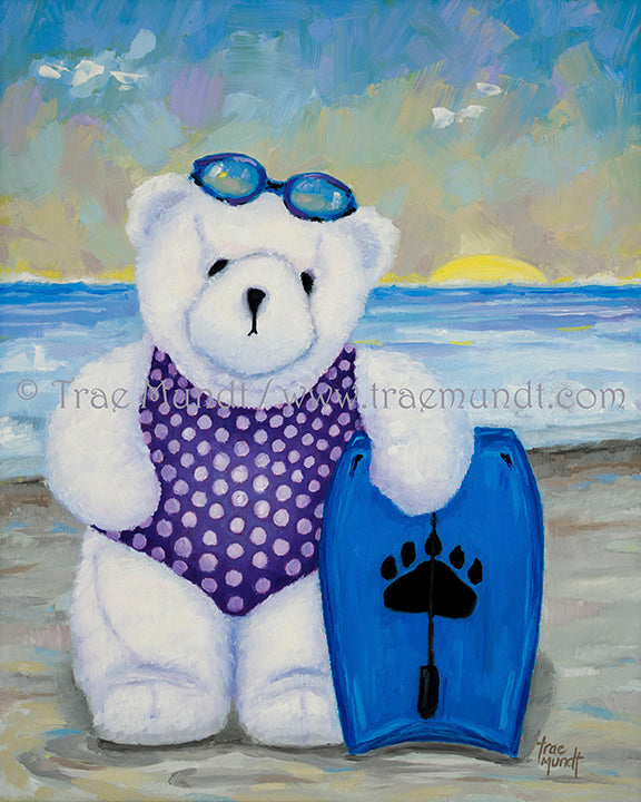 Elsie, Teddy Bear Art Print by Trae Mundt. Bearie Blvd. Bears™ collection. White teddy bear wearing purple polka dot swimsuit standing with blue boogie board day at the beach