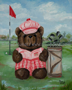 Emmett - teddy bear art print by Trae Mundt. Bearie Blvd. Bears ™. Brown teddy bear wearing red and brown plaid golf pants, pink t-shirt and striped golf hat standing on the golf course with golf clubs in bag with golf ball near golf flag.