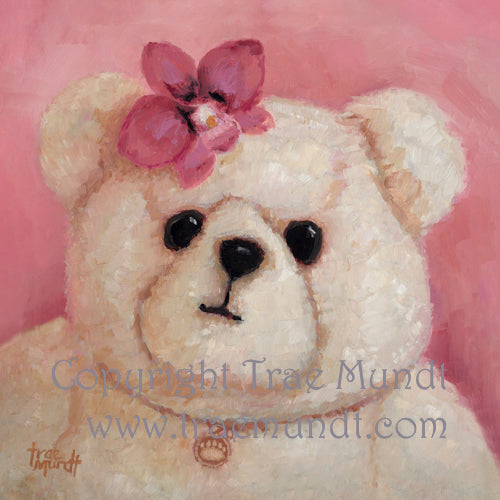 Francine by artist Trae Mundt. Bearie Blvd Bears ® oil painting. Portrait of tan teddy bear with pink orchid headdress and bear paw necklace.