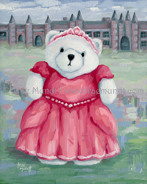 Henrietta, Teddy Bear Oil Painting by artist Trae Mundt. Bearie Blvd. Bears® collection. White princess teddy bear wearing jeweled tiara and red and pink ball gown standing in front of her castle.
