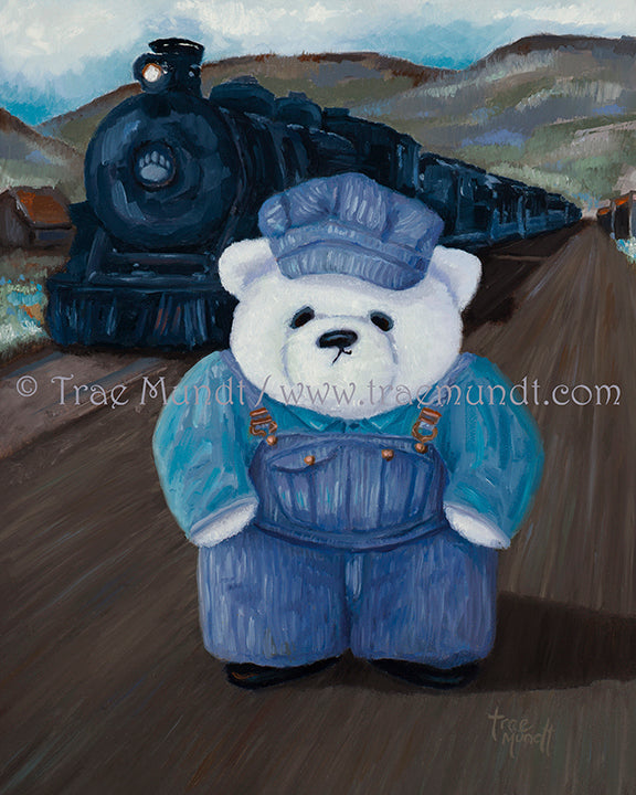Humphrey, Teddy Bear Art Print by Trae Mundt. Bearie Blvd. Bears™ collection. White teddy bear wearing blue striped overalls standing in front of his black train locomotive.