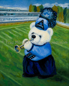 Joey, teddy bear art print by Trae Mundt. Bearie Blvd Bears™. White teddy bear wearing blue uniform with blue shako marching on football field playing his trumpet.
