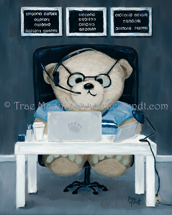 Marcus Teddy bear print by Trae Mundt. Taupe colored teddy bear sitting at his white desk working on his computer and ipad answering phone calls with his headset wearing black rimmed eye glasses with three paintings with binary code hanging on wall behind his desk.