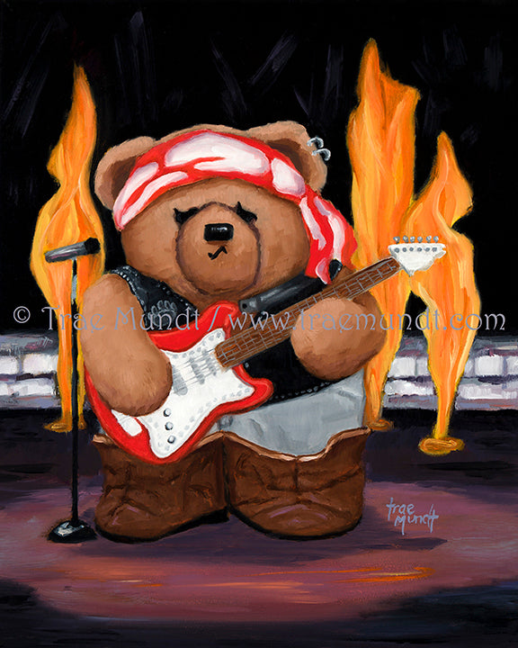 Martin, Teddy Bear Art Print by Trae Mundt. Bearie Blvd. Bears™ collection. Brown teddy bear wearing black leather vest, gray pants, brown boots and red and white scarf around his head holding a guitar standing on rockstar stage with flames under spotlight.