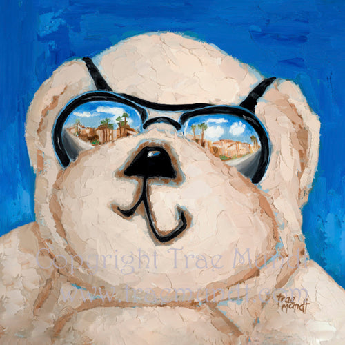 Monty teddy bear portrait Bearie Blvd. Bears® Tan teddy bear with black sunglasses reflecting city scene. blue background.