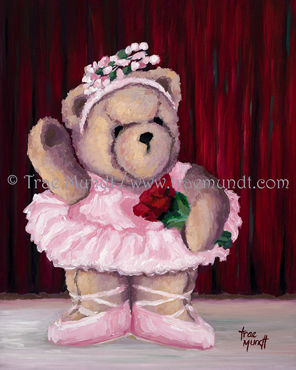 Sveta - teddy bear art print by Trae Mundt. Bearie Blvd. Bears ™. Tan teddy bear ballerina wearing a pink tutu holding red roses while standing on stage in front of red curtain.