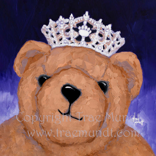 Theodora portrait oil painting of brown teddy bear wearing tiara with jewels and diamonds. Princess teddy bear. Background purple. Bearie Blvd. Bears®