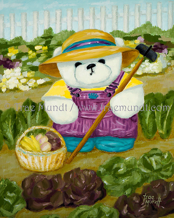 Tula - teddy bear art print by Trae Mundt. Bearie Blvd. Bears ™. White teddy bear wearing purple striped overalls and yellow t-shirt and straw hat working in her garden of vegetables and flowers surrounded by white picket fence.