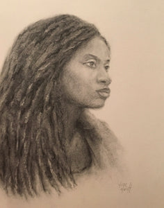 Pencil and Charcoal portrait of african american black woman long hair with dreadlocks gazing and waiting by artist Trae Mundt