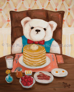Wilbur, teddy bear art print by Trae Mundt. Bearie Blvd. Bears ™. White teddy bear with red bow tie having pancakes with butter and bacon and berries.