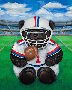Willy, teddy bear art print by Trae Mundt. Bearie Blvd. Bears ™. Dark brown teddy bear wearing red white and blue football uniform holding football while sitting on football field in stadium.