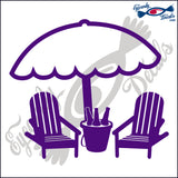 "BEACH CHAIRS AND UMBRELLA 2  5""  DECAL"