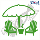 "BEACH CHAIRS AND UMBRELLA 3  5""  DECAL"