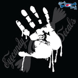 "BLOODY LEFT HAND TILTED 6"" DECAL"
