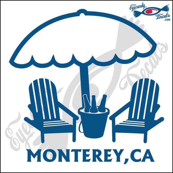 BEACH UMBRELLA with MONTEREY CALIFORNIA 6 INCH  DECAL
