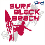 SURF BLACK BEACH CALIFORNIA 6 INCH  DECAL