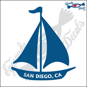 SAILBOAT WITH SAN DIEGO CALIFORNIA 6 INCH  DECAL