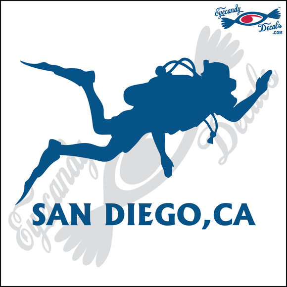 SCUBA DIVER with SAN DIEGO CALIFORNIA 6 INCH  DECAL
