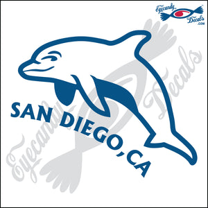 DOLPHIN with SAN DIEGO CALIFORNIA 6 INCH  DECAL