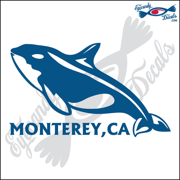 ORCA KILLER WHALE with MONTEREY BAY CALIFORNIA 6 INCH  DECAL