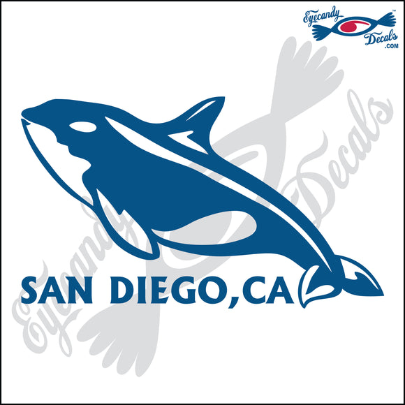 ORCA KILLER WHALE with SAN DIEGO CALIFORNIA 6 INCH  DECAL