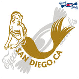 MERMAID with SAN DIEGO CALIFORNIA 6 INCH  DECAL