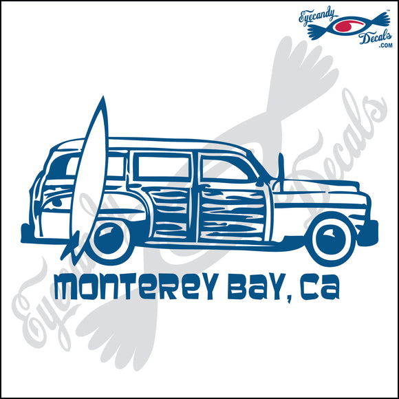 SURFER WOODY with MONTEREY BAY CALIFORNIA 6 INCH  DECAL