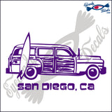 SURFER WOODY with SAN DIEGO CALIFORNIA 6 INCH  DECAL