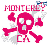 SKULL AND CROSSBONES with MONTEREY BAY CALIFORNIA 6 INCH  DECAL